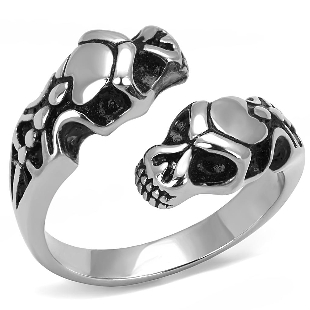 Men Stainless Steel Epoxy Snake Skull Ring