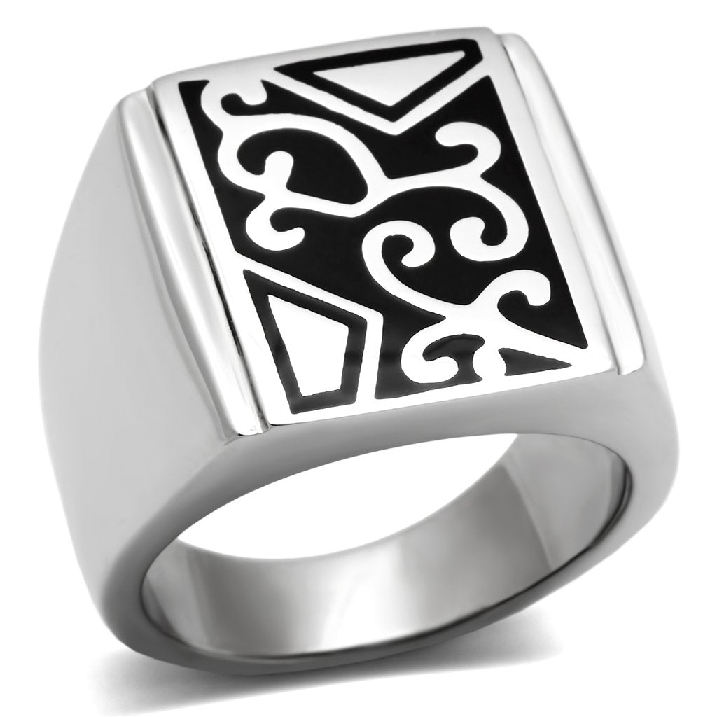 Silver Ring with Black Design and No Stone