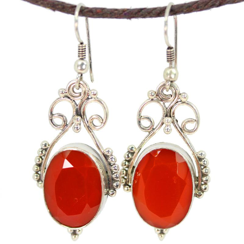 Reddish Brown Oval Gem Silver Earrings