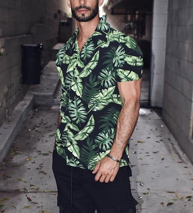 Green Tropical Button Down Shirt