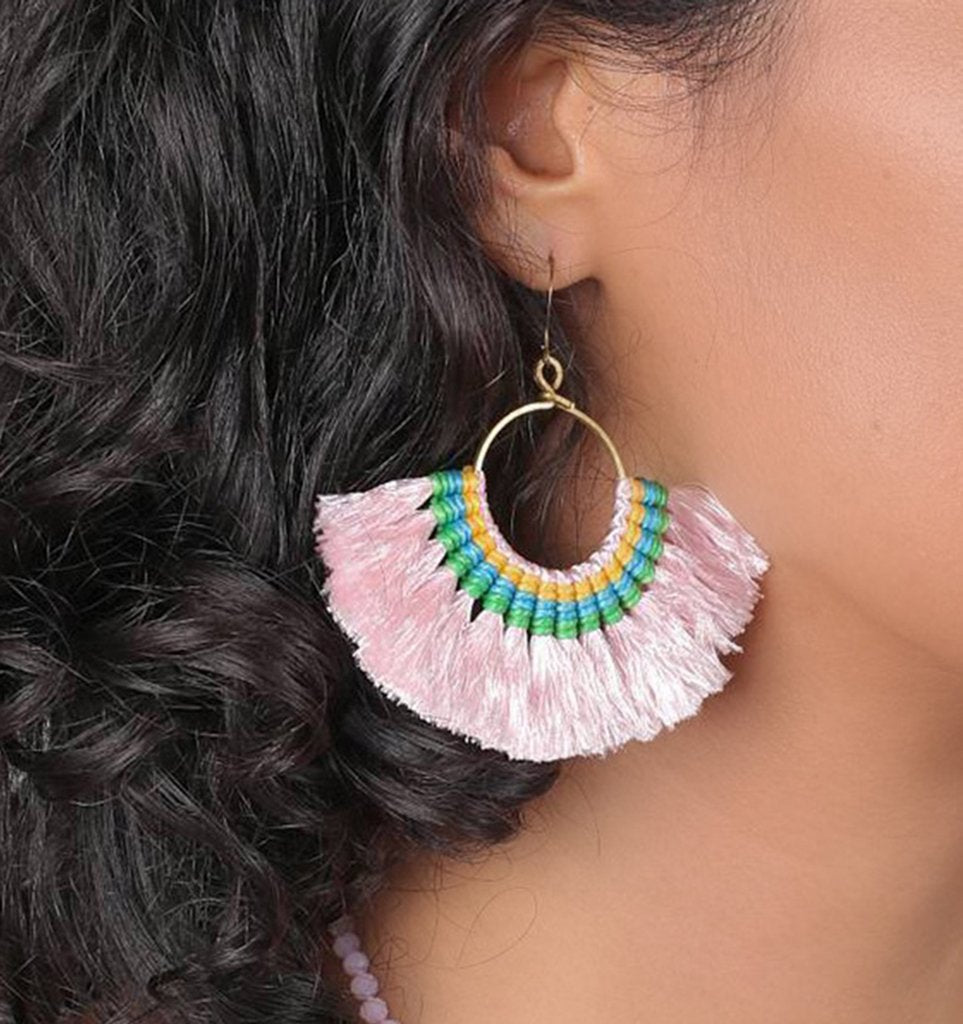 Tassel Fan Brass Earrings