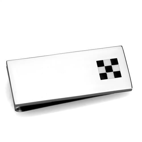 High Polished Stainless Steel Checker Money Clip for Men