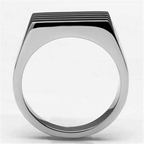 TK705 High polished (no plating) Stainless Steel Ring with Epoxy in Jet