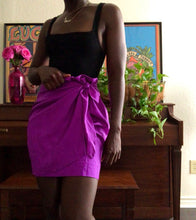 Load image into Gallery viewer, purple silk wrap skirt