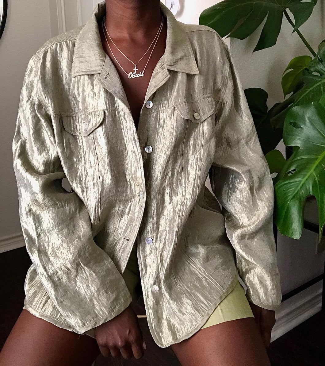shiny sage button up