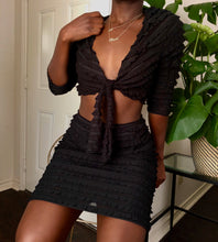 Load image into Gallery viewer, black sheer ruffle two-piece set
