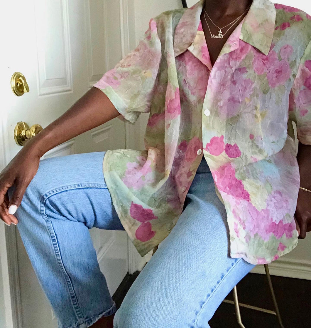 sheer watercolor blouse