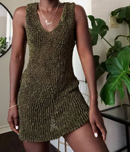 Load image into Gallery viewer, olive mesh knit dress