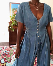 Load image into Gallery viewer, denim midi-dress
