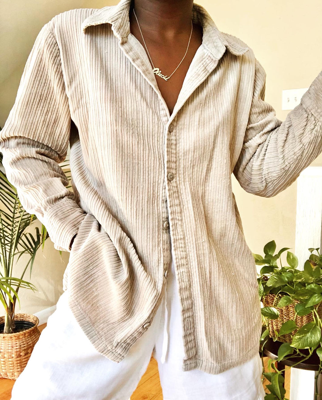cream wide wale corduroy button up