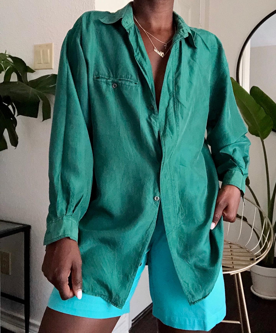 green silk button up