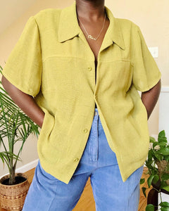 textured chartruese button up