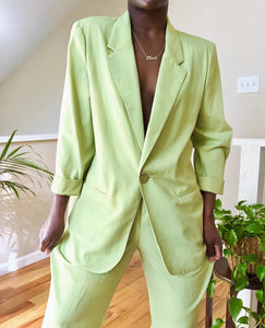 oversized soft lime pant suit