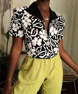 b&w cropped floral top