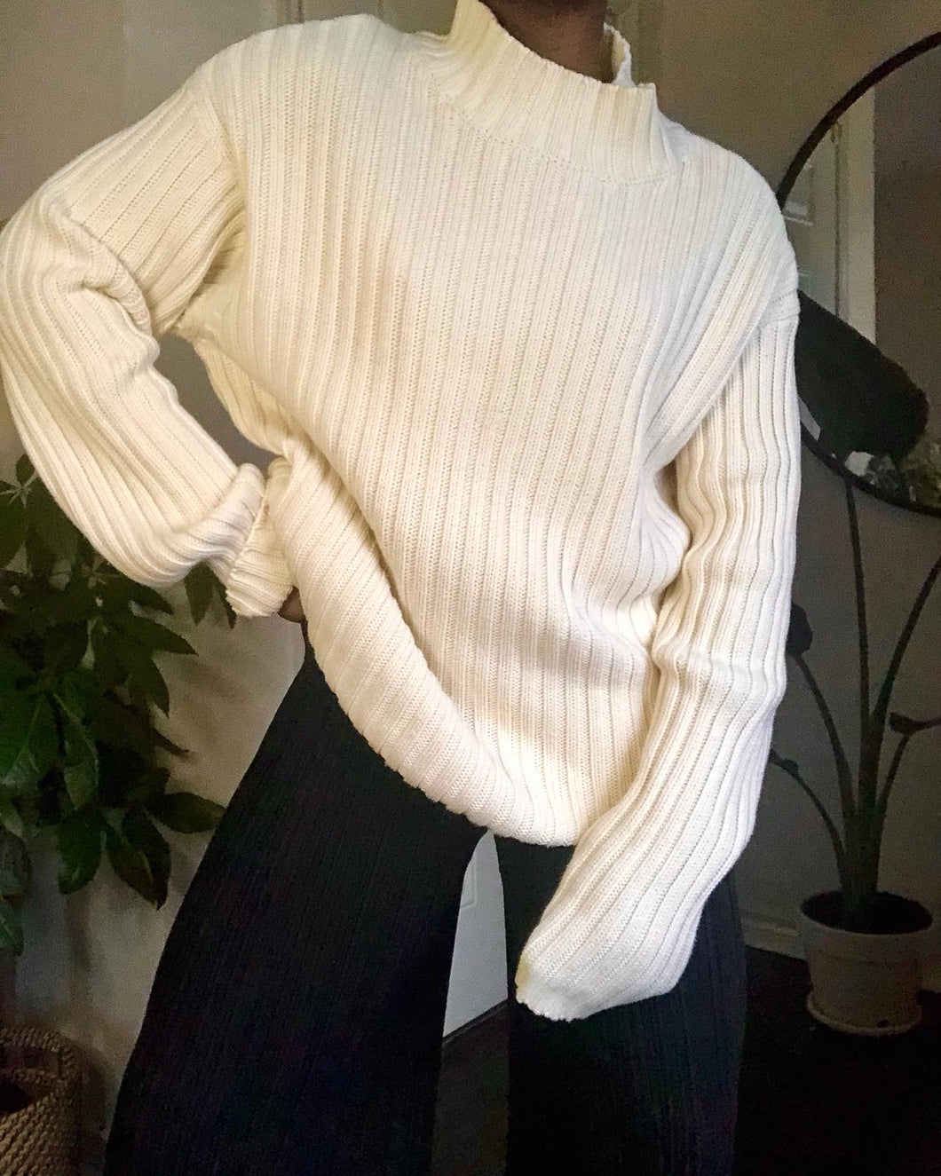 cream ribbed mock neck sweater