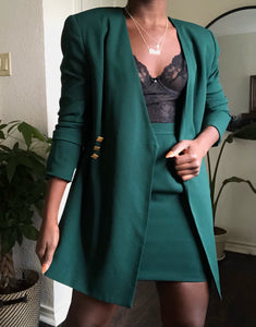 rich teal skirt suit