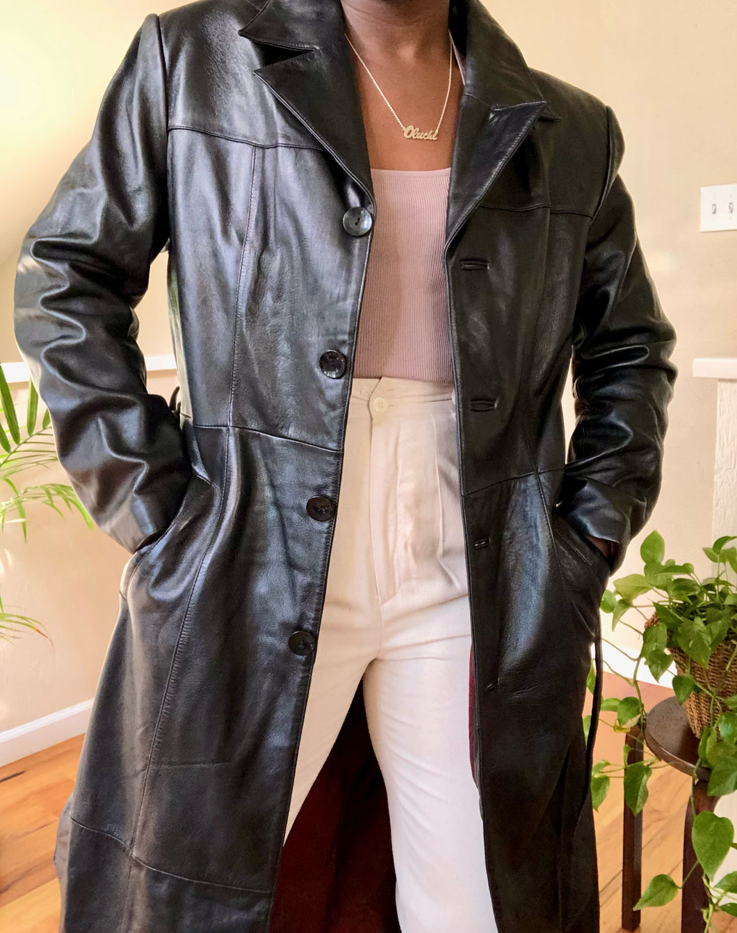 vintage leather trench