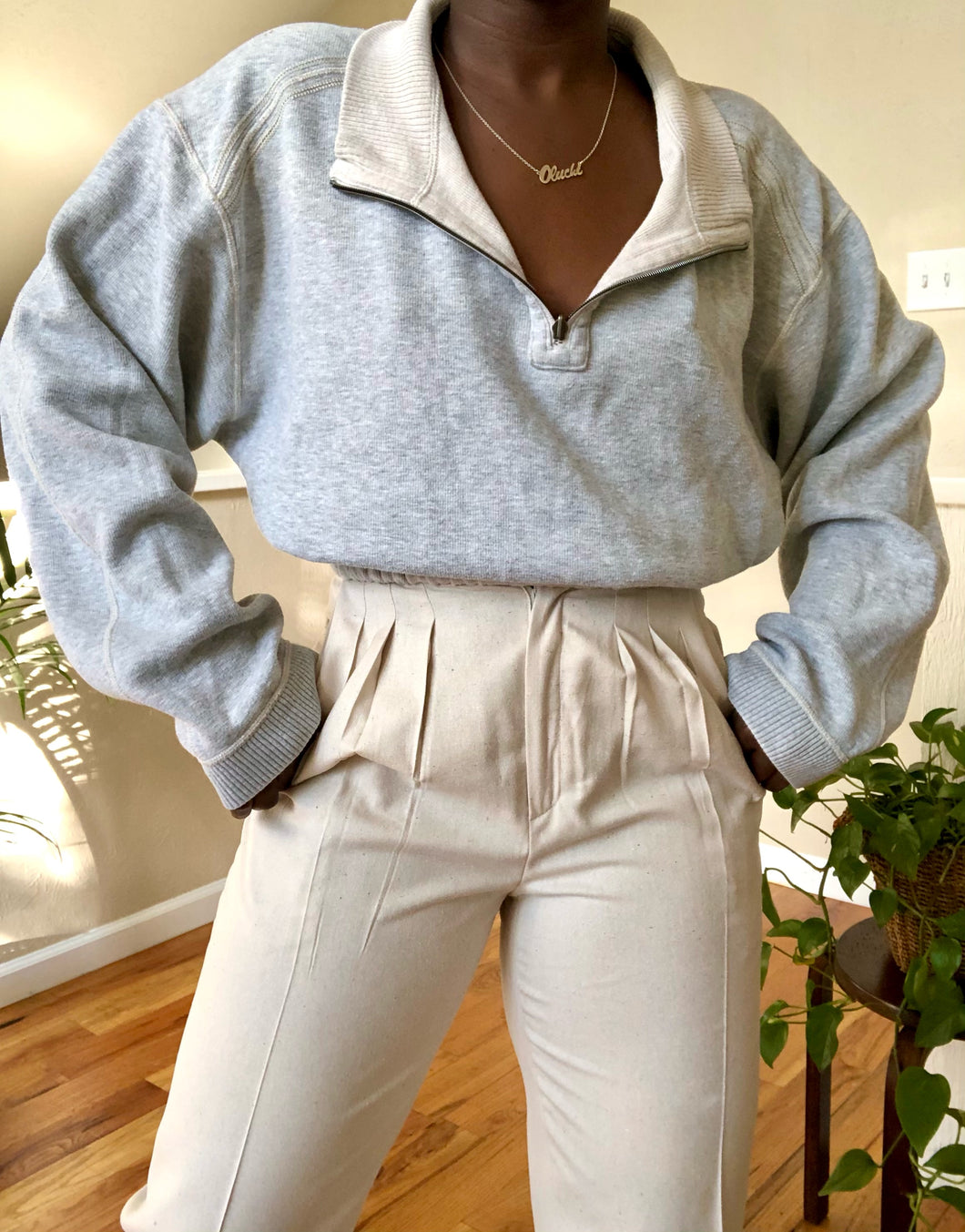gray reversible cropped quarter zip