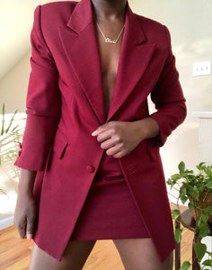maroon skirt suit
