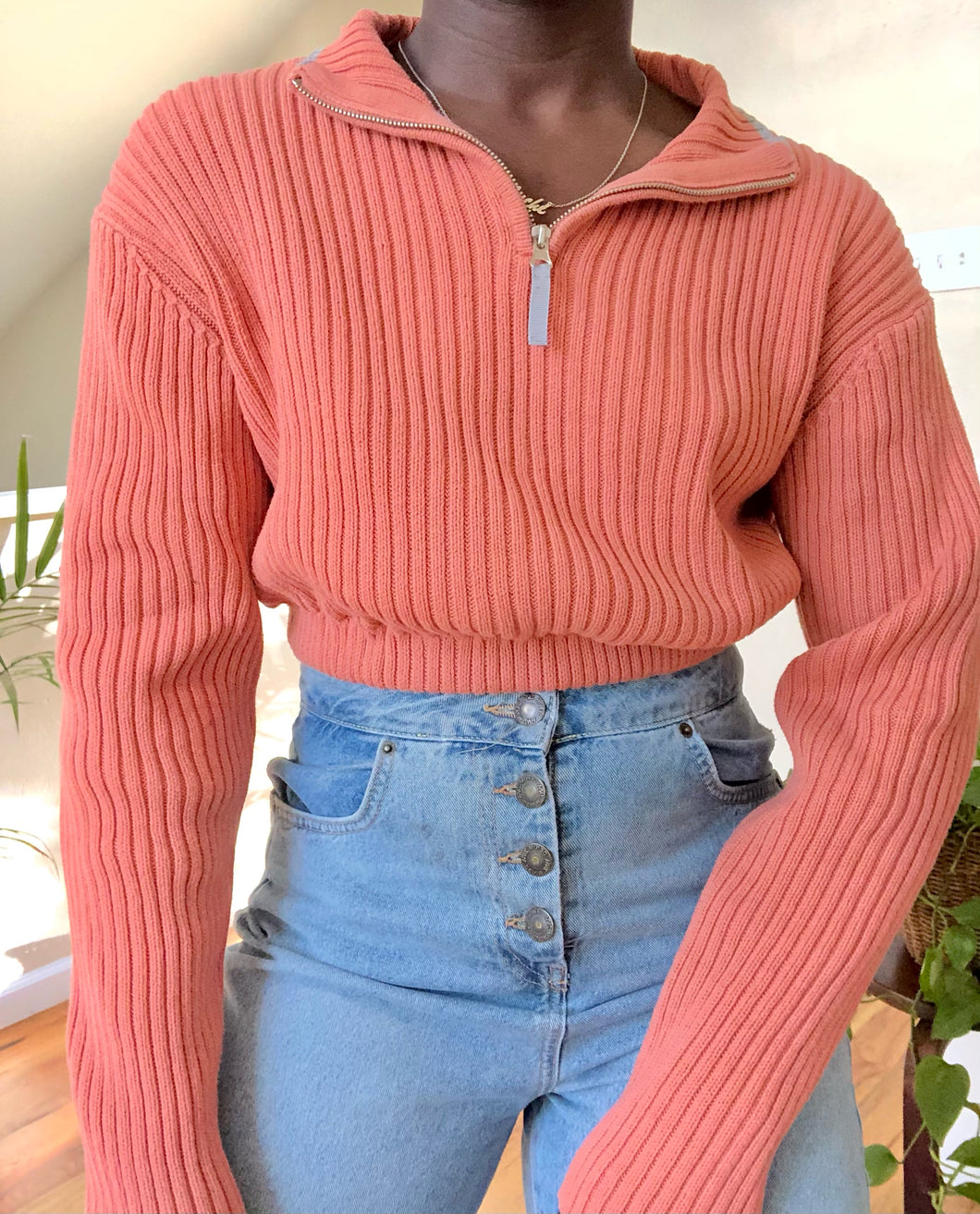 coral ribbed cropped quarter zip
