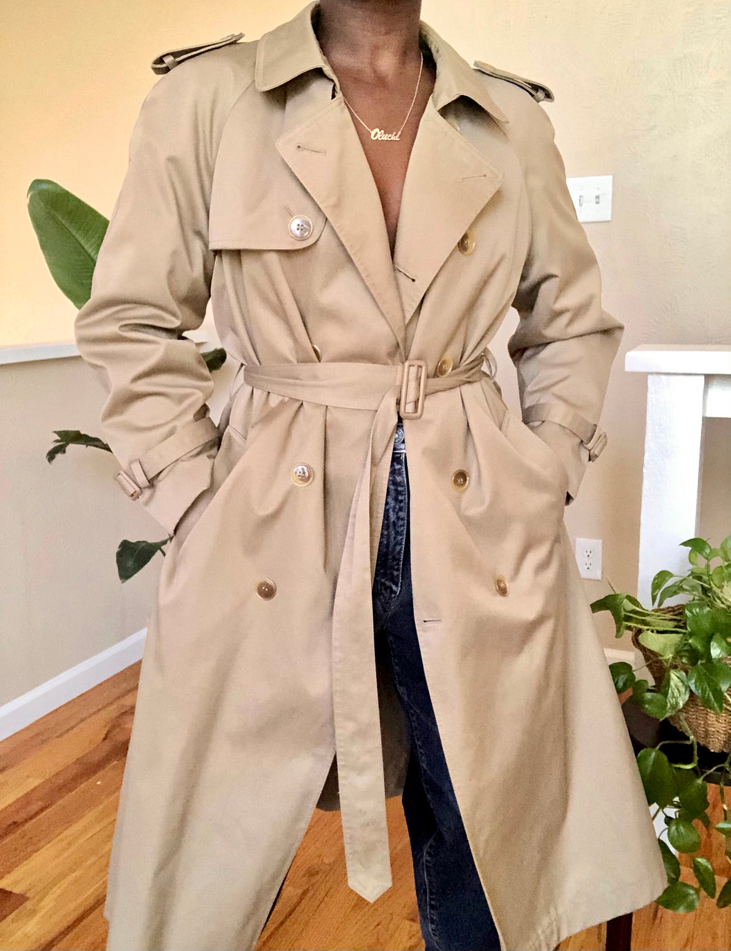 classic tan trench coat