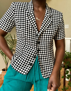 b&w checkered structured top