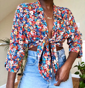 multi-color floral top