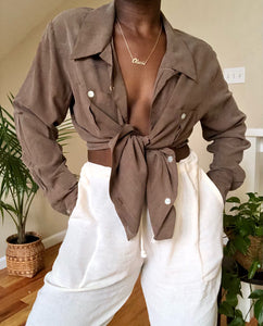 mocha silk blouse