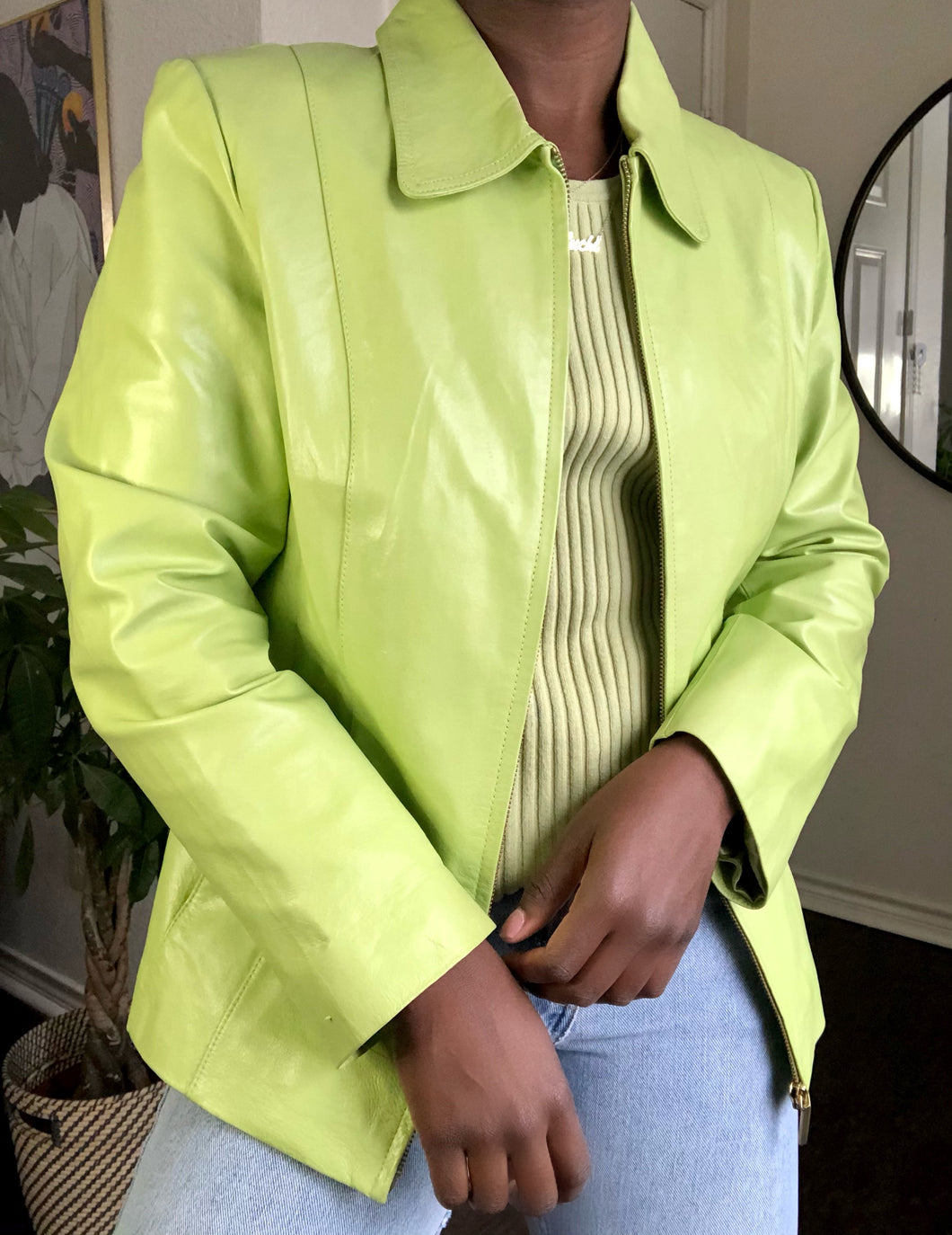 lime leather jacket