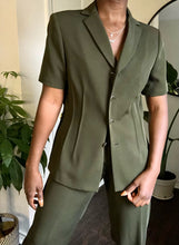 Load image into Gallery viewer, olive short sleeve suit