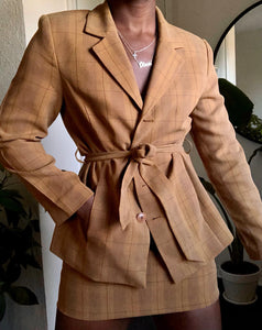 muted plaid skirt suit