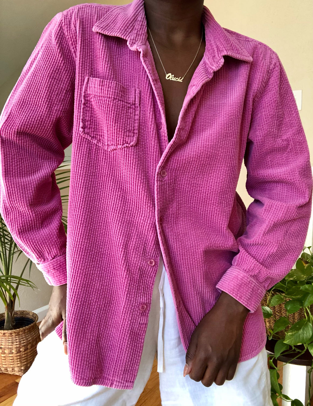 magenta wide wale corduroy button up