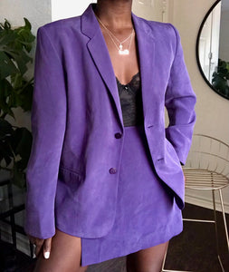 plum silk skirt suit
