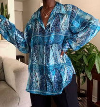 Load image into Gallery viewer, shades of blue silk blouse