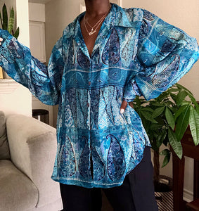 shades of blue silk blouse