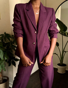 mulberry pinstripe pant suit