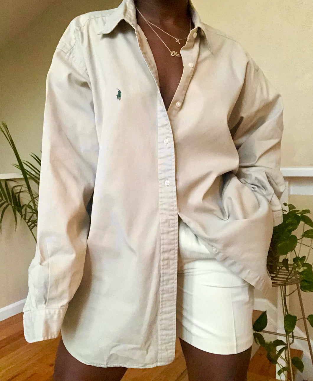 classic beige polo button up
