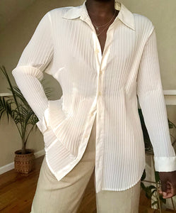 ivory pleated button up