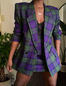purple plaid skirt suit