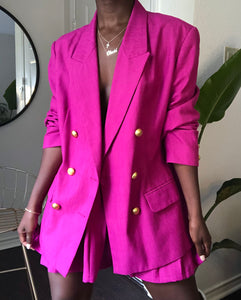 fuschia pleated skirt suit