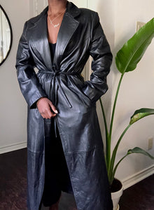 vintage full length leather coat