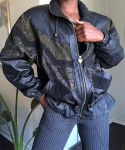 90's textured leather bomber