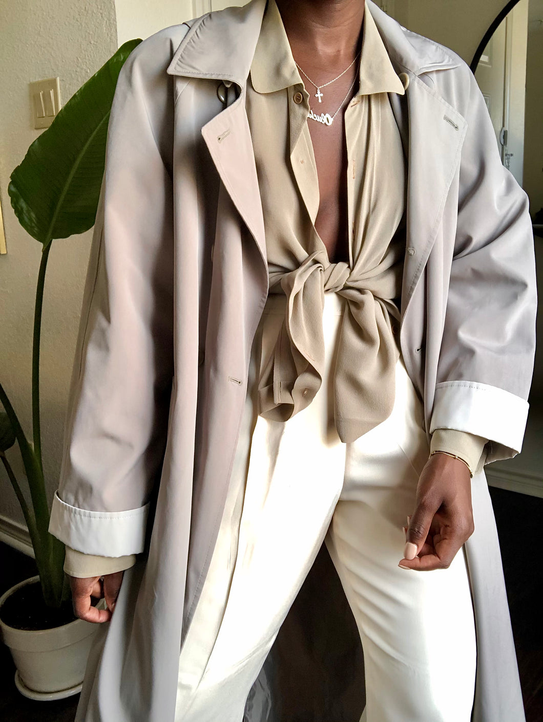 vintage dove gray raincoat