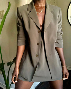olive skirt suit