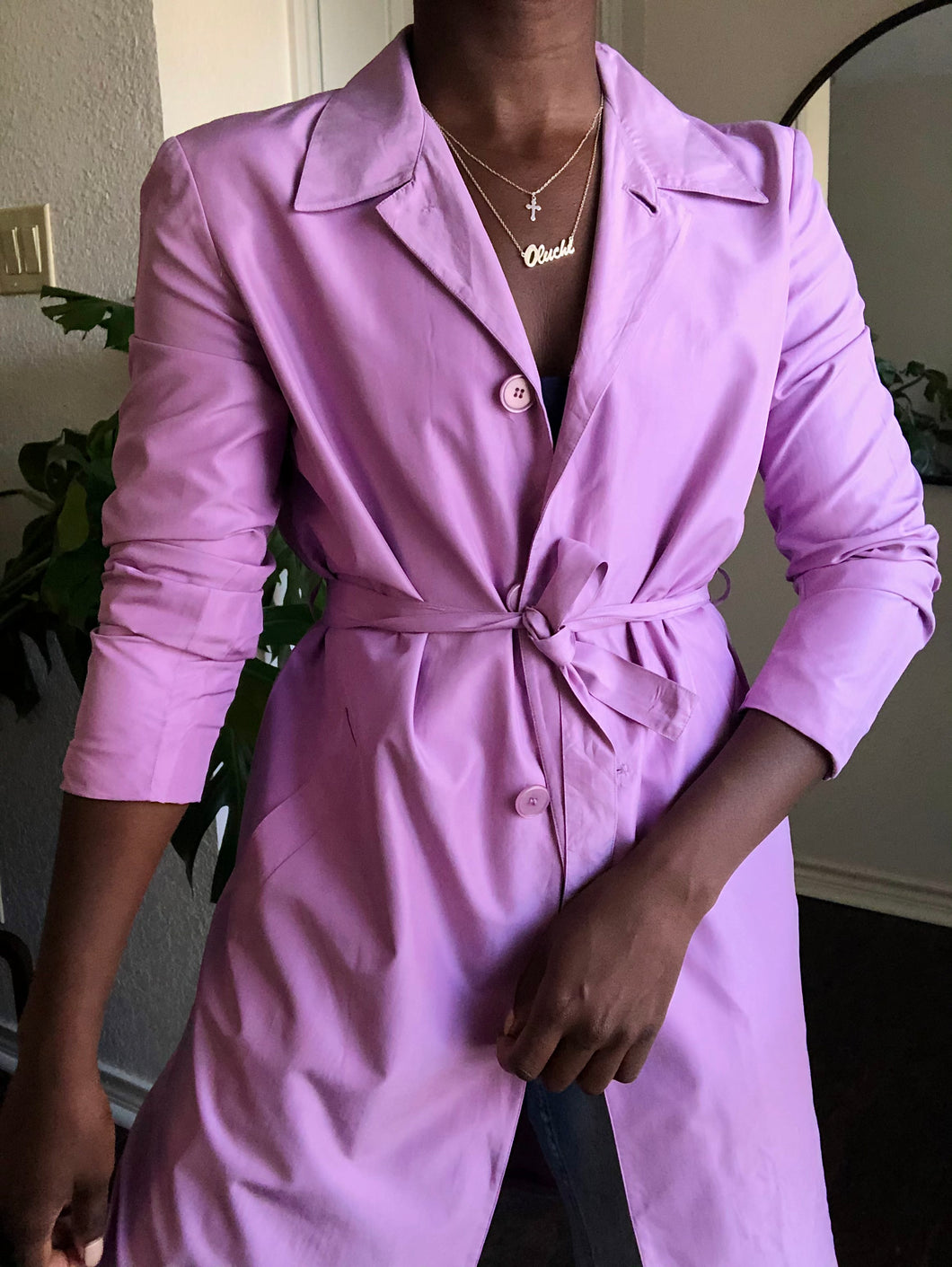 light lilac trench