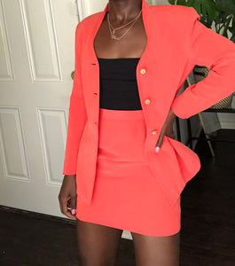 coral silk skirt suit
