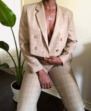 Load image into Gallery viewer, tan plaid cropped blazer set