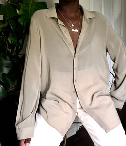 giorgio armani taupe silk button up
