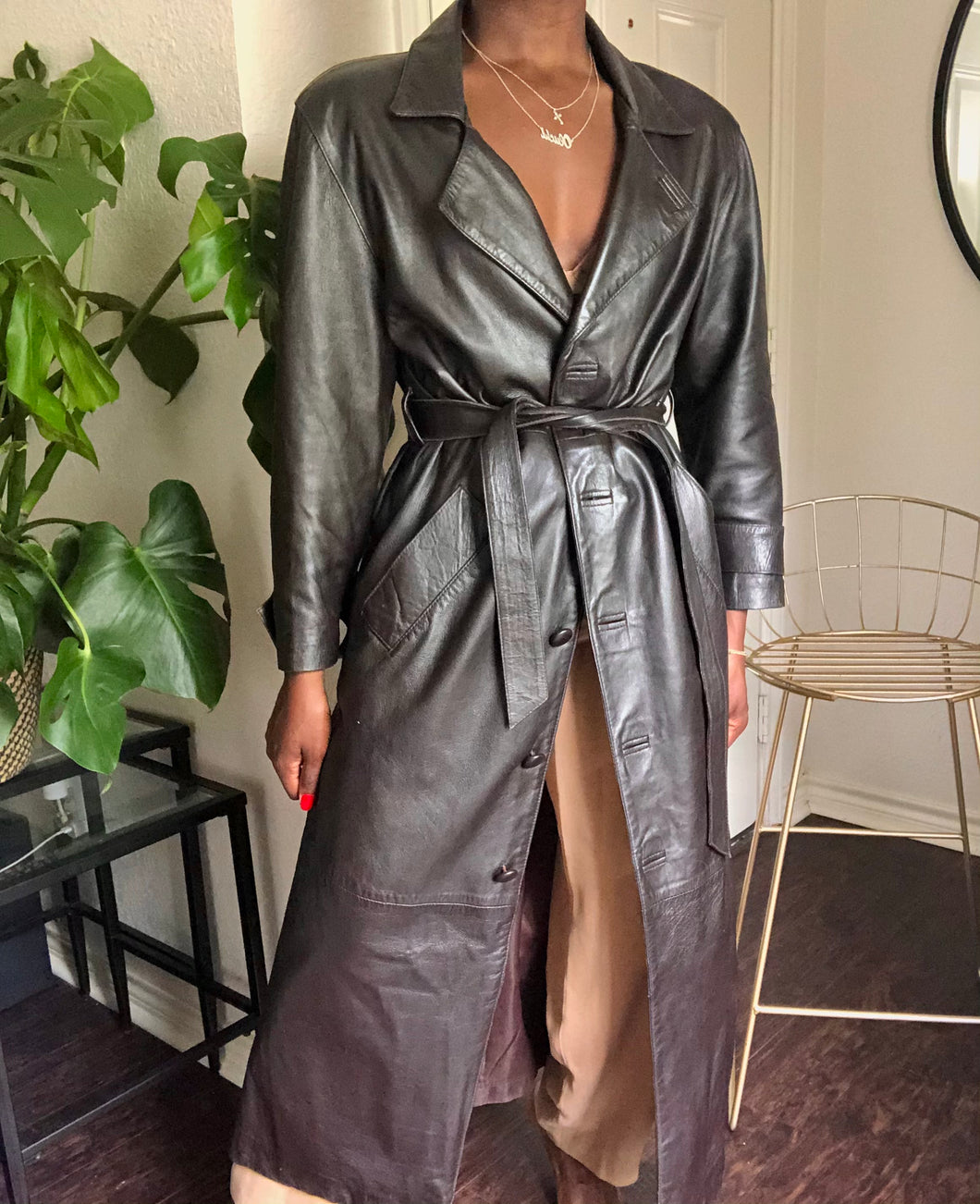 vintage 90's leather trench