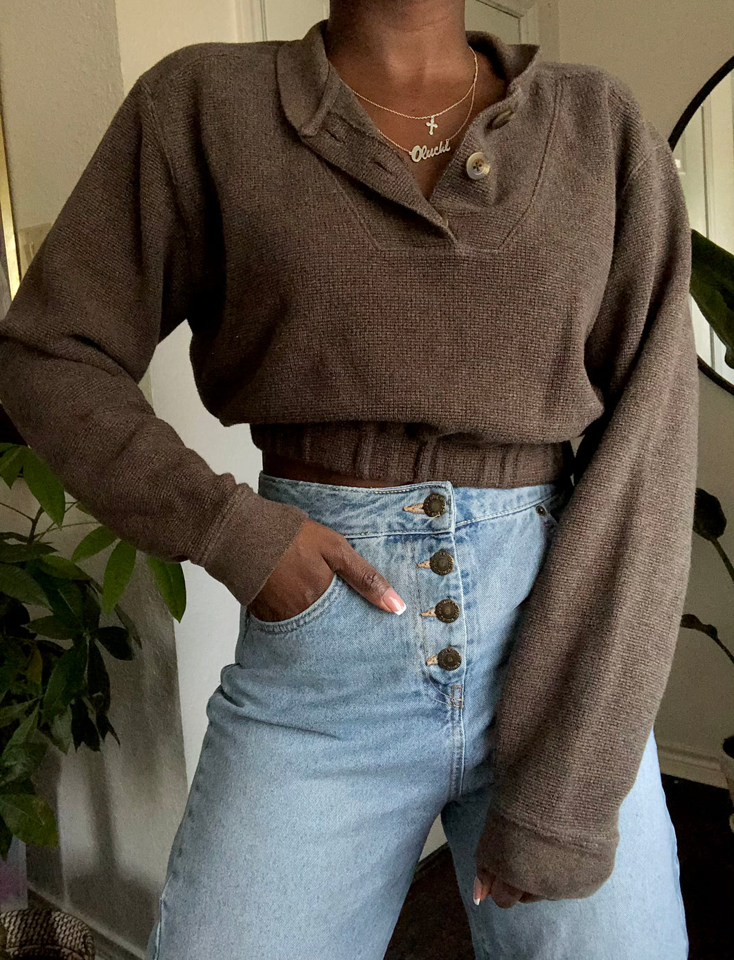 cocoa cropped henley